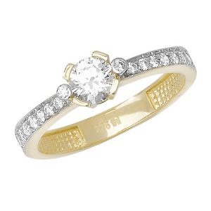 Round and centre Round CZ set Ladies Ring in 9ct Yellow Gold