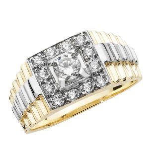 Stepped Sided Mans CZ set 9ct Yellow Gold Ring