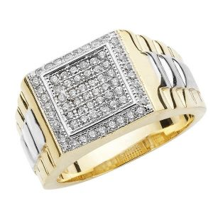 Ornate Square Head CZ set Mans Heavy 9ct Yellow Gold Ring