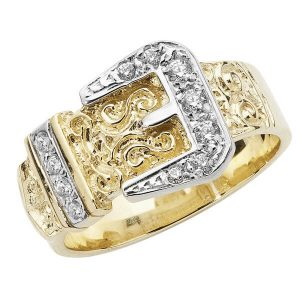 Belt Buckle Style Mans Ring embellished with Czs set in 9ct Yellow Gold