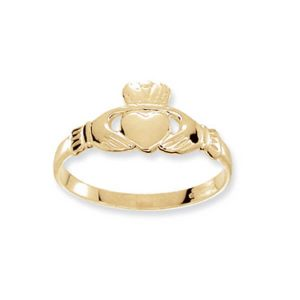 Babies Plain Claddagh Ring in 9ct Yellow Gold