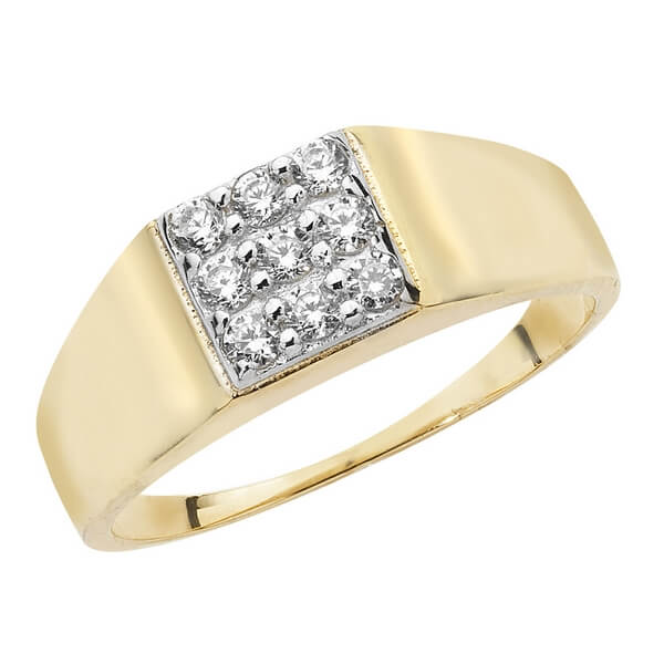 Babies CZ set Signet Ring in 9ct Yellow Gold