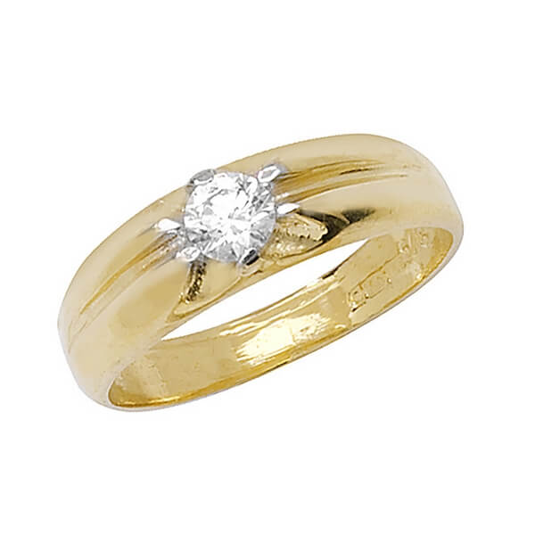Babies single centre set CZ Ring in 9ct Yellow Gold