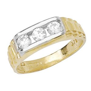 Babies 3 Stone CZ set Ring in 9ct Yellow Gold