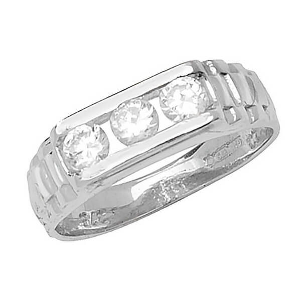 Babies 3 Stone CZ set Ring in 9ct White Gold