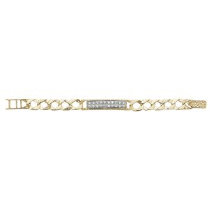 Childs 5.5inch Cast Chain ID Bracelet Set with Czs in 9ct Yellow Gold