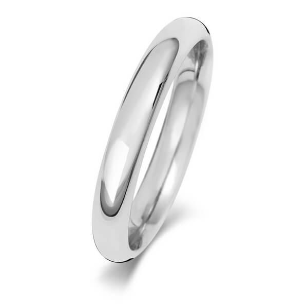 3mm White Gold Court Wedding Ring