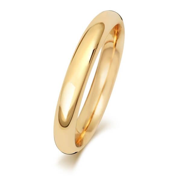 3mm Yellow Gold Court Wedding Ring