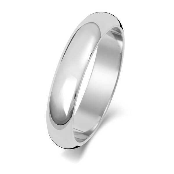4mm Platinum D Shape Wedding Ring