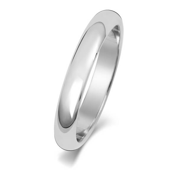 3mm White Gold D Shape Wedding Ring