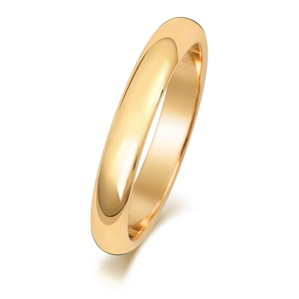 3mm Yellow Gold D Shape Wedding Ring