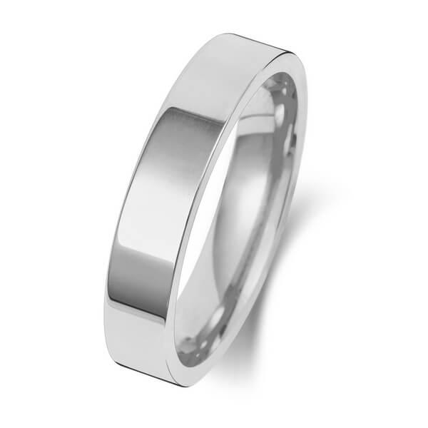 4mm Platinum Flat Court Wedding Ring