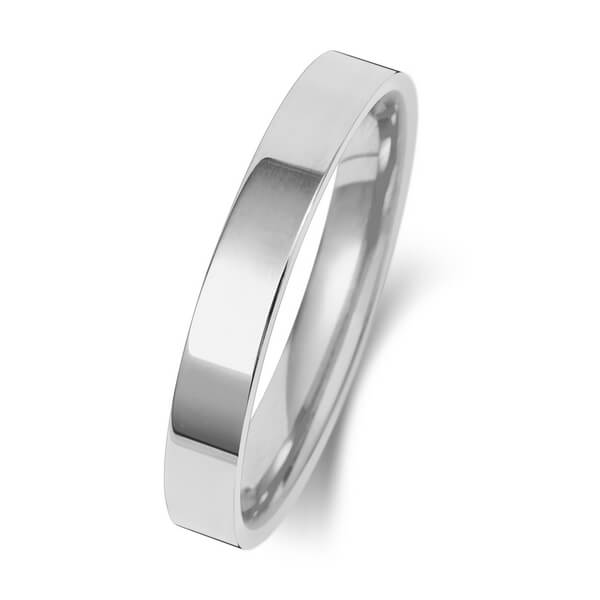 3mm White Gold Flat Court Wedding Ring