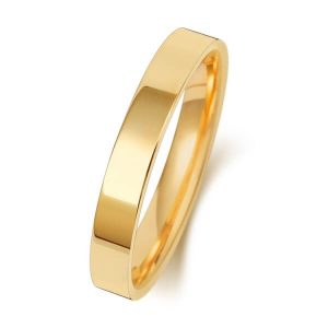 3mm Yellow Gold Flat Court Wedding Ring