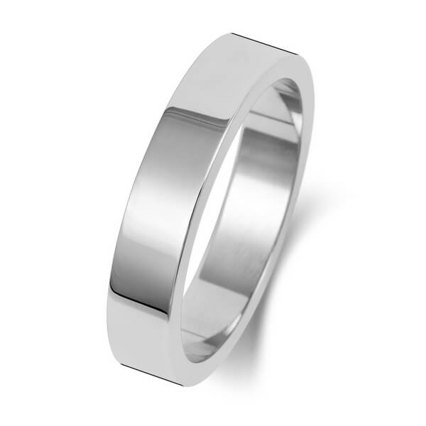 4mm Platinum Flat Shape Wedding Ring