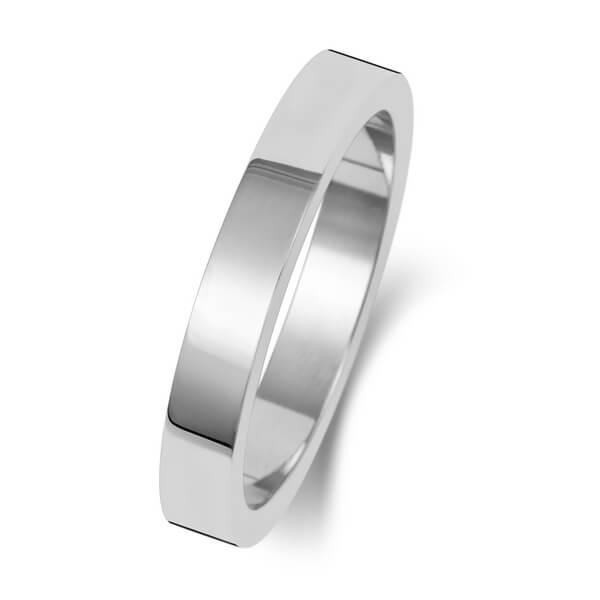 3mm White Gold Flat Shape Wedding Ring