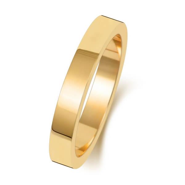 3mm Yellow Gold Flat Shape  Wedding Ring