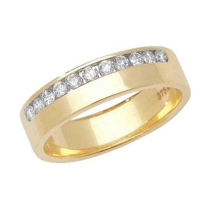 9ct Yellow Gold Round Diamond Eternity Style Wedding Ring