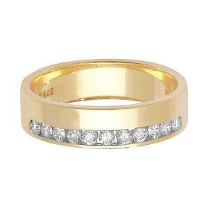 9ct Yellow Gold Round Diamond Eternity Style Wedding Ring
