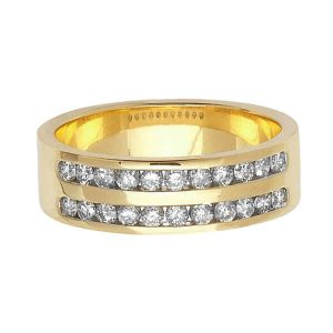 9ct Yellow Gold Double Row Round Diamond Wedding Ring