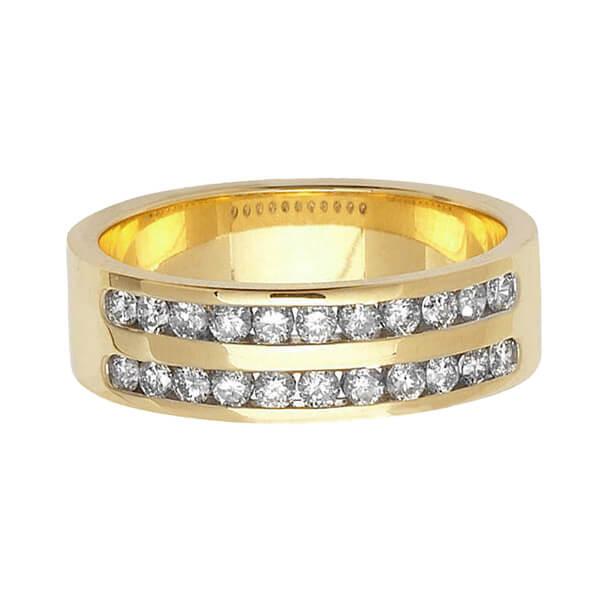 9ct Yellow Gold Double Row Round Diamond Wedding Ring
