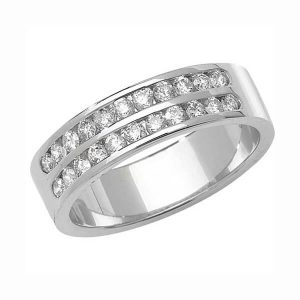 9ct White Gold Double Row Round Diamond Wedding Ring
