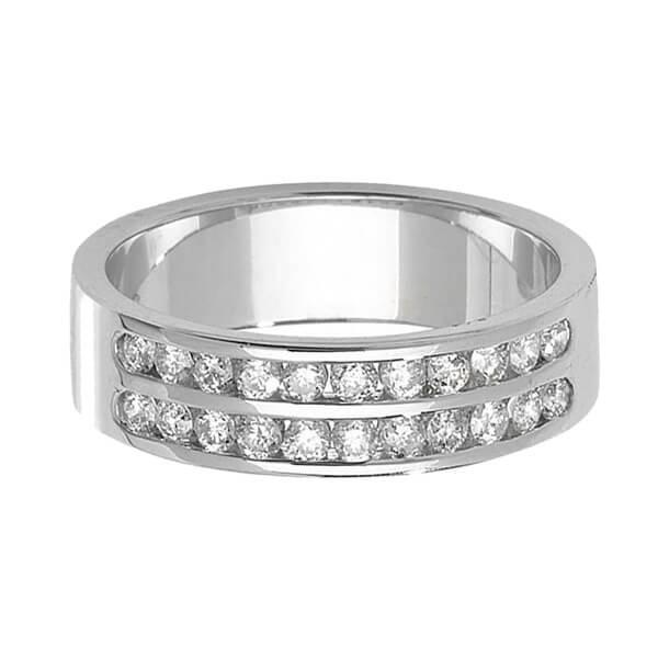 9ct White Gold Double Row Round Diamond Wedding Ring