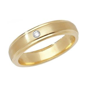 9ct Yellow Gold Single Round Diamond Wedding Ring