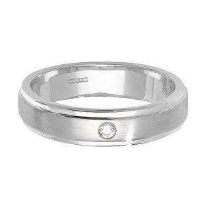 9ct White Gold Single Round Diamond Wedding Ring