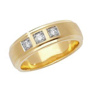 9ct Yellow Gold Round Diamond Wedding Ring