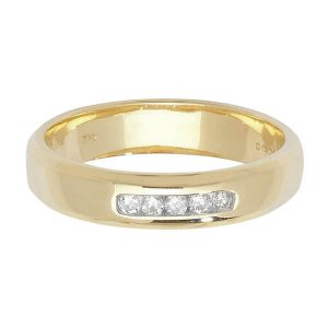 9ct Yellow Gold 5 Round Diamond Wedding Ring