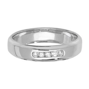 9ct White Gold 5 Round Diamond Wedding Ring
