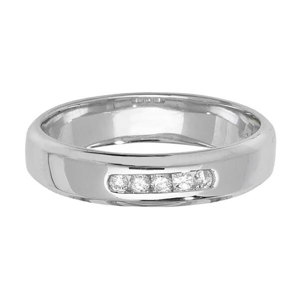 9ct White Gold 5 Round Diamond Wedding Ring
