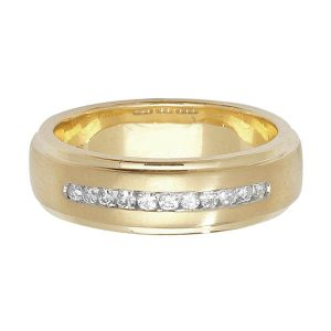 9ct Yellow Gold Round Diamond Wedding Ring