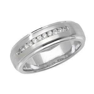 9ct White Gold Round Diamond Wedding Ring