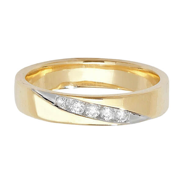 9ct Yellow Gold Round Diamond Crossover Wedding Ring