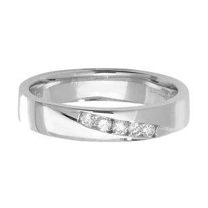 9ct White Gold Round Diamond Crossover Wedding Ring