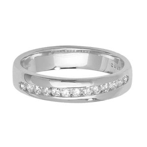 9ct White Gold Round Diamond Crossover Wedding Ring