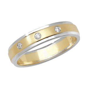 9ct Yellow and White Gold Round Diamond Wedding Ring