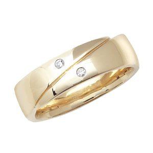9ct Yellow Gold Round Diamond Crossover Wedding Ring