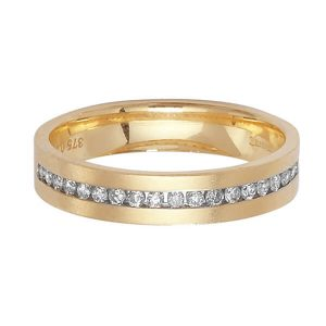 9ct Yellow Gold Channel Set Round Diamond Wedding Ring