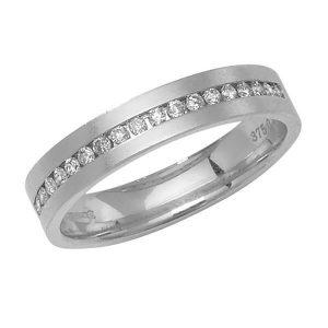 9ct White Gold Half Eternity Style Diamond Wedding Ring