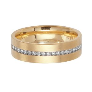 9ct Yellow Gold Round Diamond Half Eternity Style Wedding Ring
