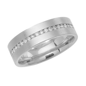 9ct White Gold Round Diamond Half Eternity Style Wedding Ring