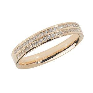 9ct Yellow Gold Two Row Round Diamond Wedding Ring