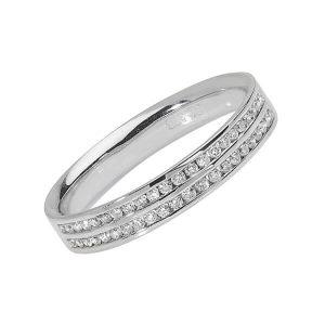 9ct White Gold Two Row Round Diamond Wedding Ring