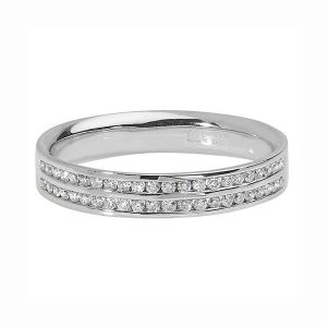 9ct White Gold Two Row Round Diamond Wedding Ring