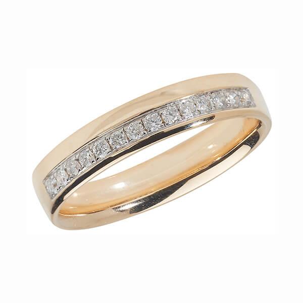 9ct Yellow Gold Offset Round Diamond Wedding Ring