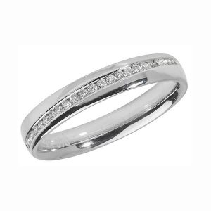 9ct White Gold Channel Set Round Diamond Wedding Ring