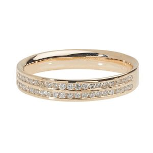 18ct Yellow Gold Two Row Diamond Wedding Ring